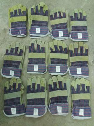 Lote 12 pares guantes trabajo piel/ algodon nuevos