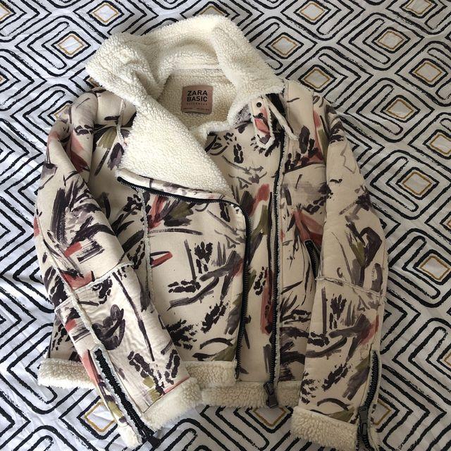 Fur flowered jacket