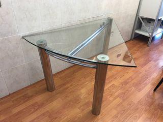 Mesa diseño cristal triangular y acero inoxidable