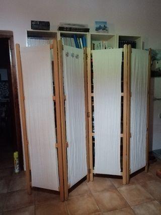 Biombo madera de 4 paneles,con tela desenfundable