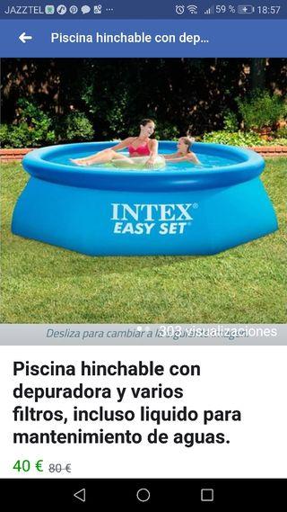 piscina hinchable con depuradora y varios filtros