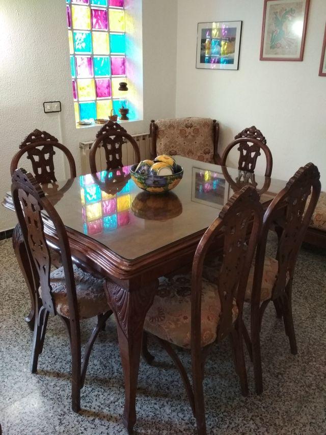 Mesa y 6 Sillas de comedor vintage. de segunda mano por 550 ...