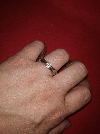 anillo plata con solitario