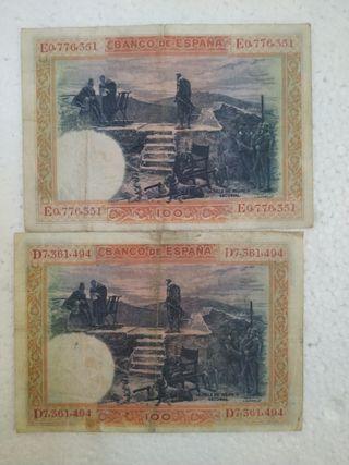 2 billetes de 100 pesetas