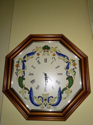 Reloj pared madera y ceramica