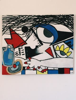 Cuadro óleo sobre lienzo cubista moderno