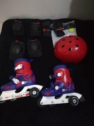 Conjunto patines, protecciones y casca