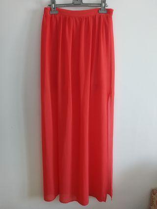Falda larga transparencia, color coral, Talla M