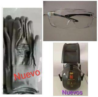 Equipación EPI Nueva, Cascos, Guantes, Gafas