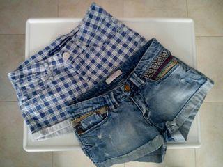 2 shorts, pantalones cortos, talla 12-14 años