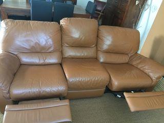 Sofa piel 1a calidad abatible