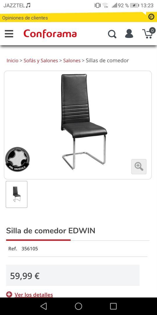 Pack 4 sillas comedor Conforama de segunda mano por 39,9 ...