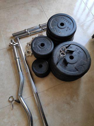 Juego de pesas + banco musculación