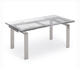 Mesa comedor cristal y acero extensible de segunda mano por
