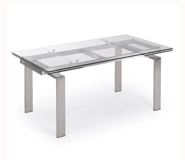 Mesa comedor cristal y acero extensible de segunda mano por ...
