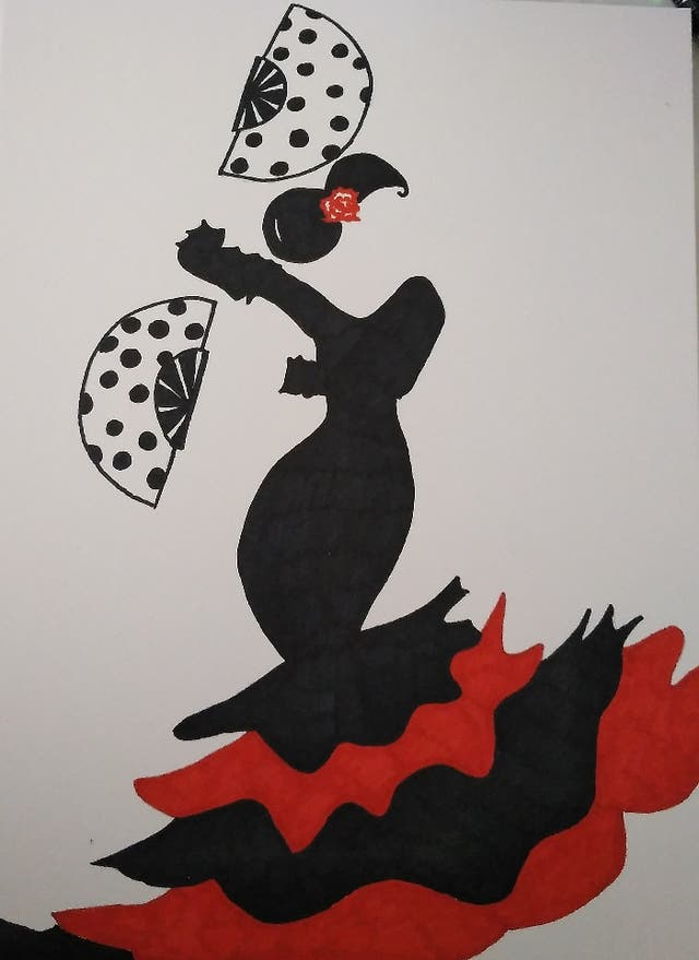 Lámina flamenca abanicos