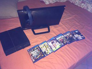 PS4 + Monitor + 6 juegos + cascos inalambricos PS4