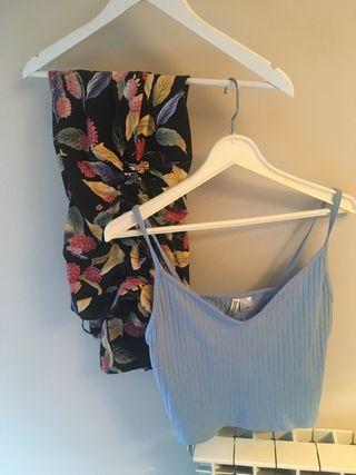 Falda larga y top