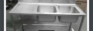 Fregadero industrial de dos senos