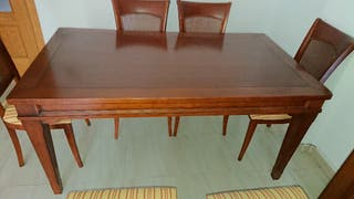 mesa salon extensible 2'40 + 6 sillas