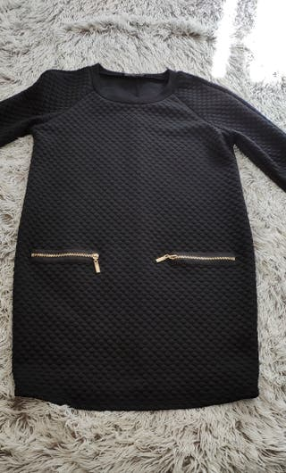 vestido mini negro textura