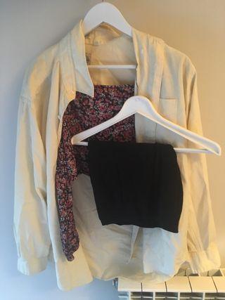 Conjunto falda top y camisa