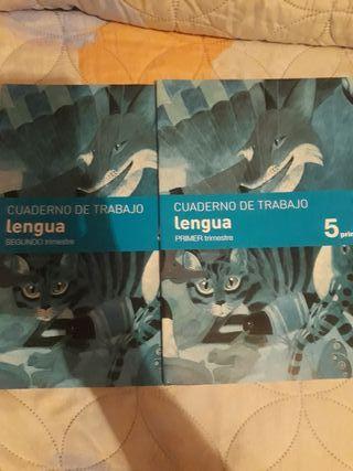 guaderno de lengua 1 y 2 trimestre de 5 de primari