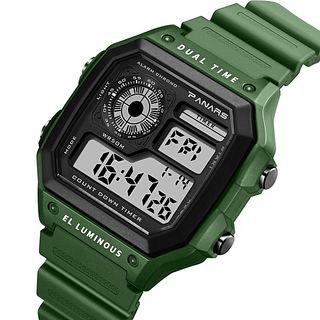 Reloj digital verde militar.