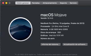 "Macbook Pro 13"" Finales 2013 Retina SSD 8gb Ram"