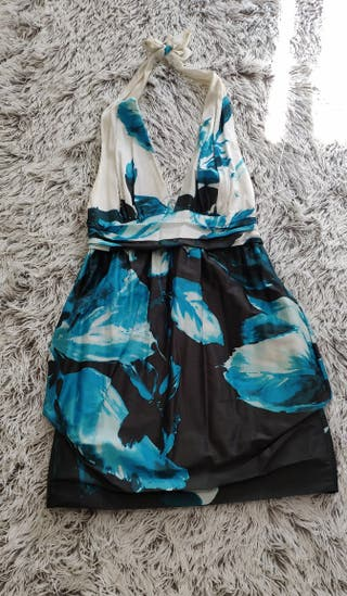 vestido hojas azules