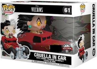 Funko Pop Cruella in Car 61 Rides. Disney Villains