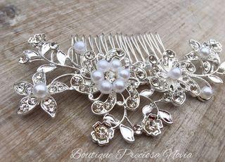 Tocado Floral en tono plata ,tocado madrina Nuevo