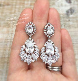 Pendientes de cristal de alta calidad para novia