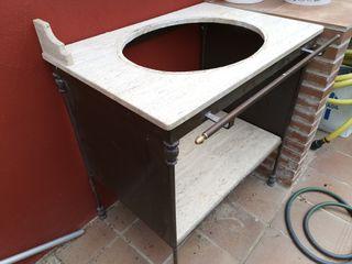 Mueble Lavabo De Forja y Marmol Antiguo