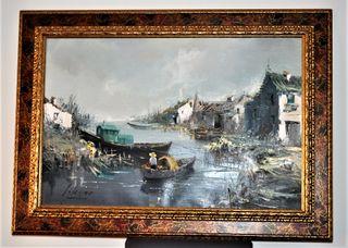 Autentico cuadro grande Iglesias en lienzo, oleo