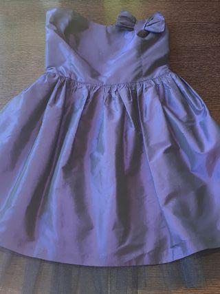 vestido morado palabra de honor
