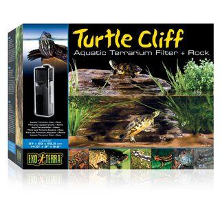 Turtle Cliff Filtro para terrario acuático + roca