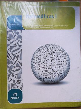 Libro Matemáticas, 1° Bachillerato.Ed.Editex