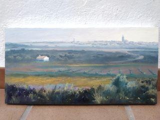 cuadro paisaje El Bonillo. 40 x 20 cm. Óleo