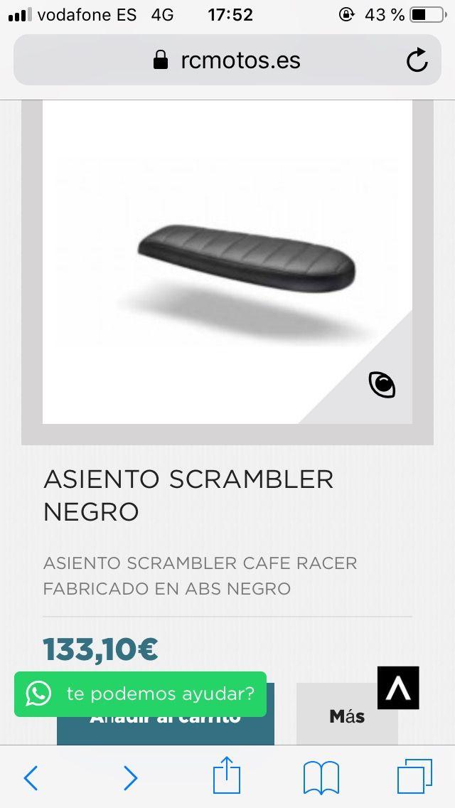 Asiento cafe racer scrambler