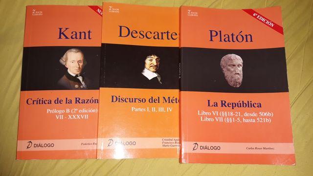 Libros filosofía Diálogo Kant, Descartes y Platón
