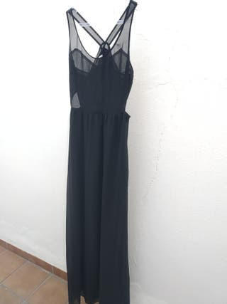 Vestido largo de fiesta negro Zara. Talla M