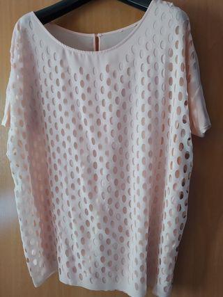 Camiseta rosa palo con rejilla Zara Talla M