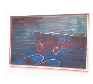 Cuadro oleo barcos