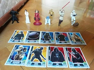 7 figuras Star Wars+cromos