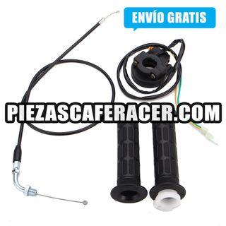 Caña moto de gas con Juego de Puños + Cable Aceler