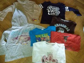 7 camisetas manga larga niño 3/4 años