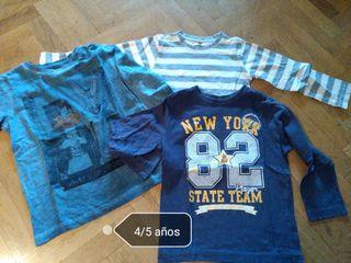 3 camisetas manga larga niño 4/5 años