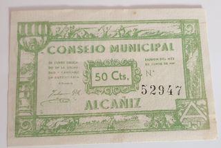 Billete local de Alcañiz 50 céntimos