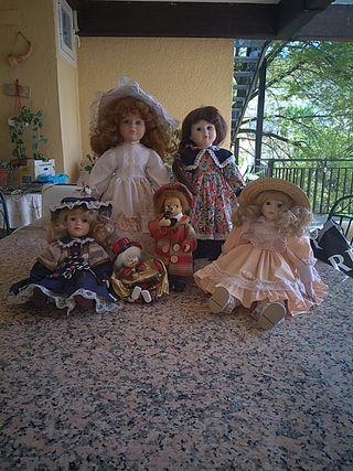 6 muñecas de porcelana vintage
